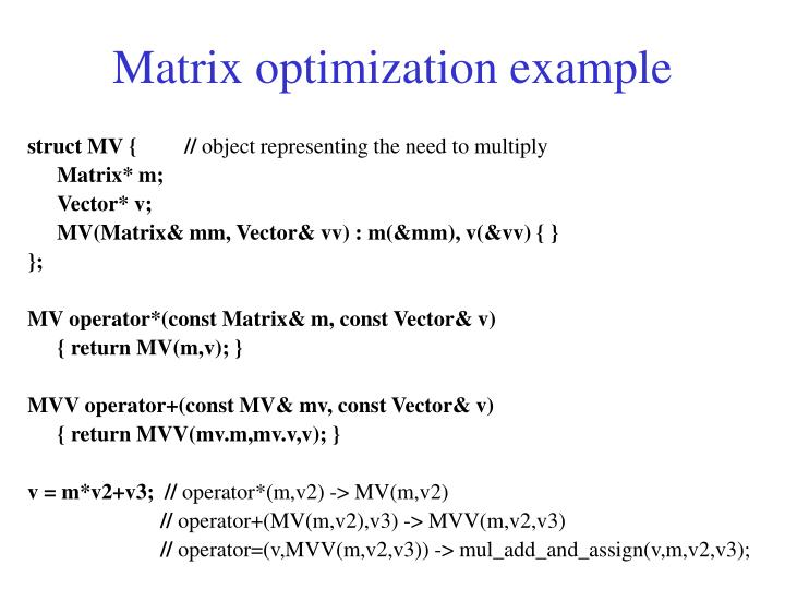 Matrix optimization example