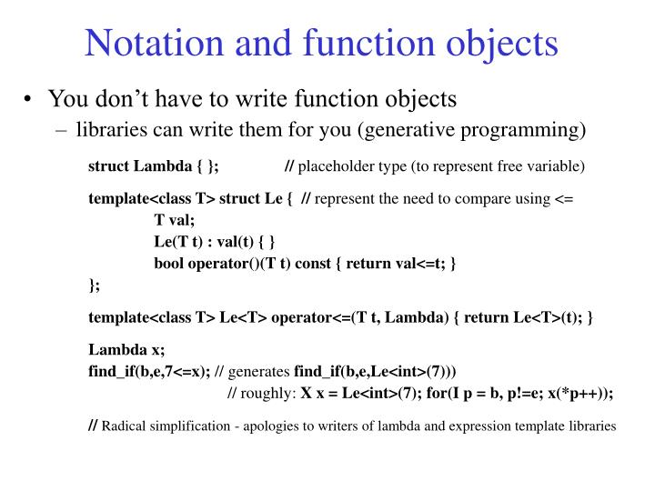 Notation and function objects