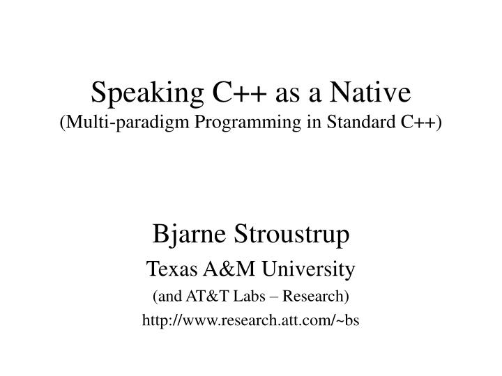Speaking c as a native multi paradigm programming in standard c