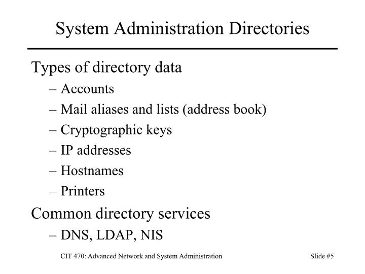 System Administration Directories