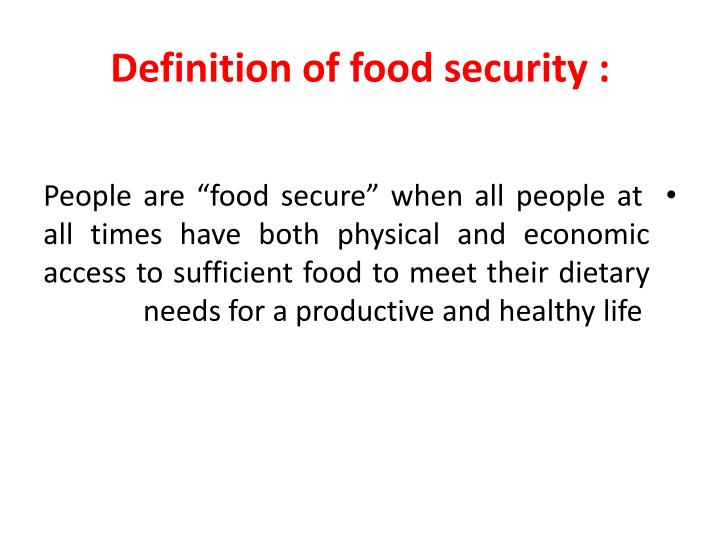 Definition of food security