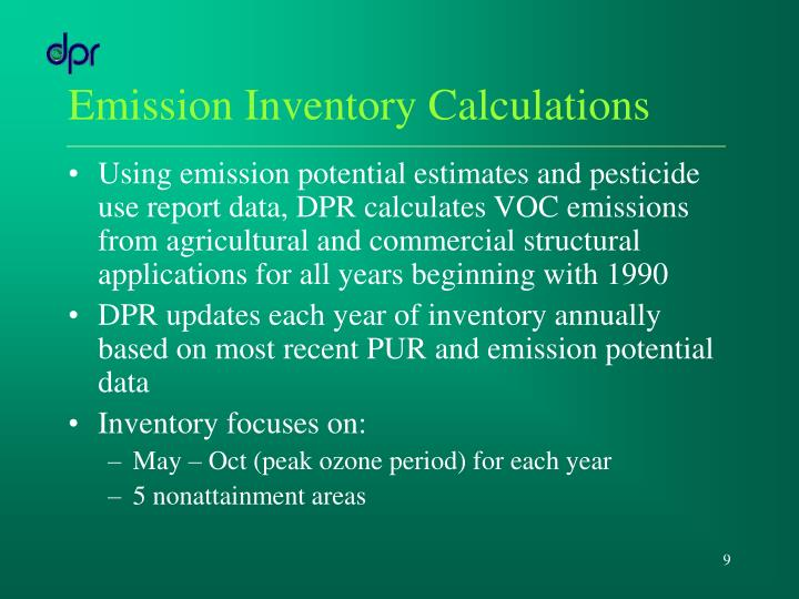 Emission Inventory Calculations