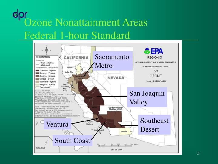 Ozone nonattainment areas federal 1 hour standard