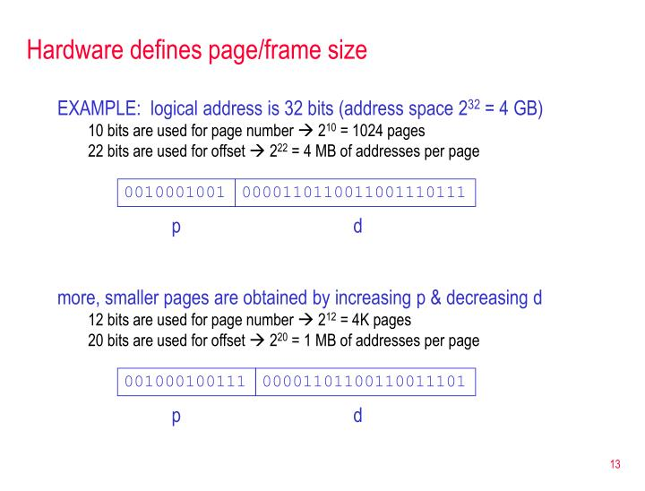 more, smaller pages are obtained by increasing p & decreasing d