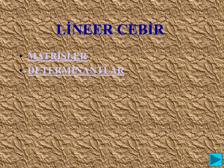 LİNEER CEBİR
