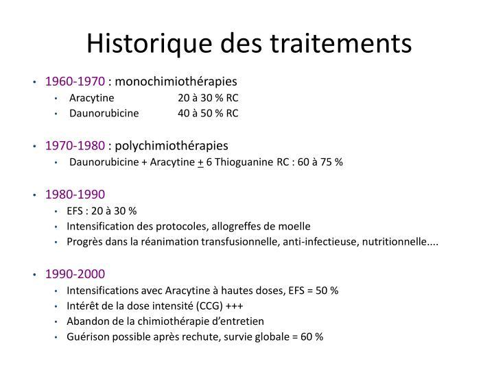 Historique des traitements