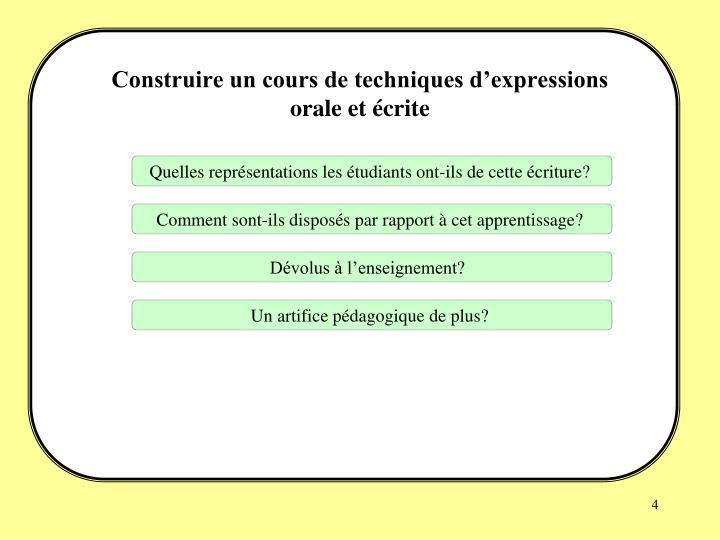 Construire un cours de techniques d'expressions