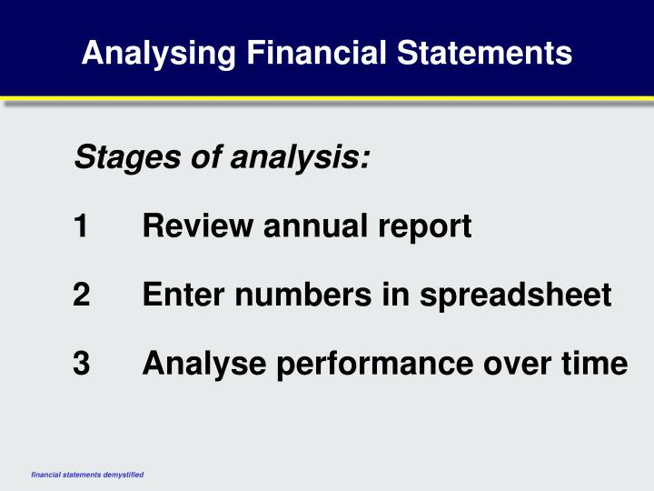 Analysing Financial Statements