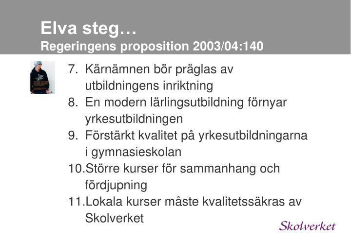 Elva steg…
