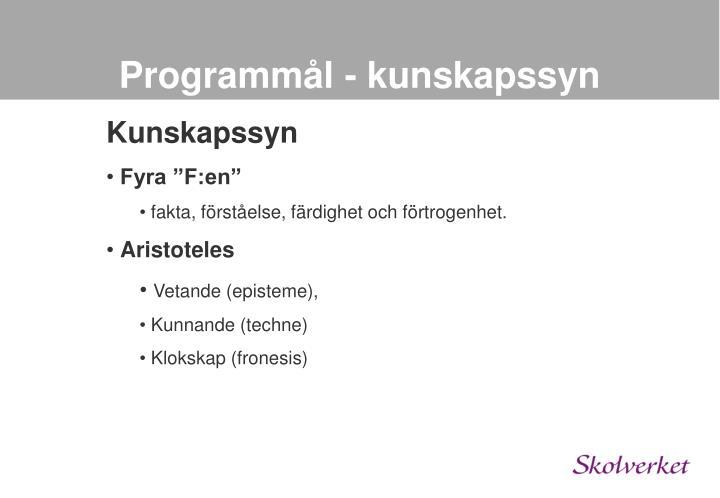Programmål - kunskapssyn