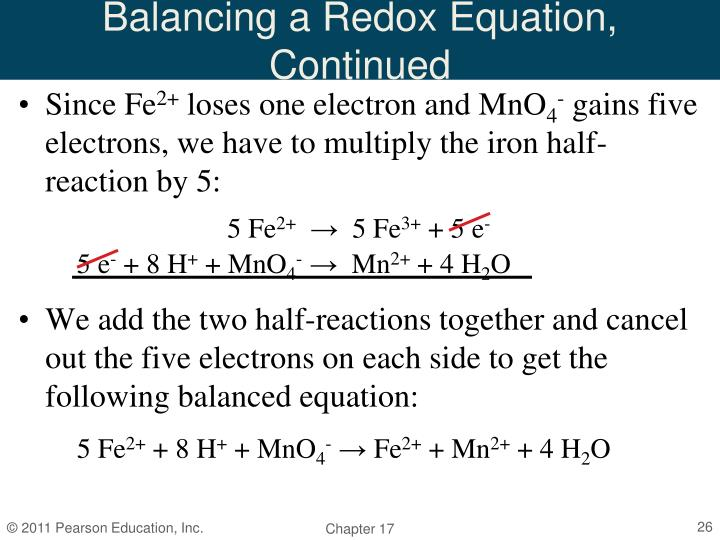 Balancing a Redox Equation, Continued