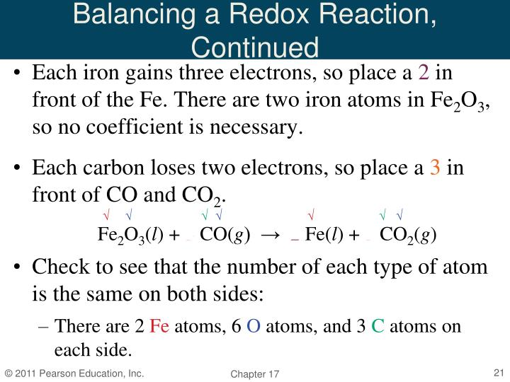 Balancing a Redox Reaction, Continued