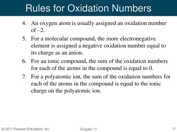 Rules for Oxidation Numbers