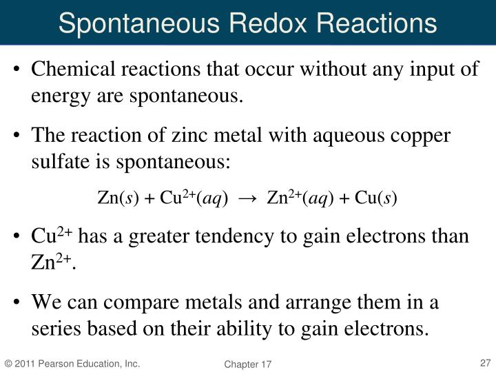 Spontaneous Redox Reactions