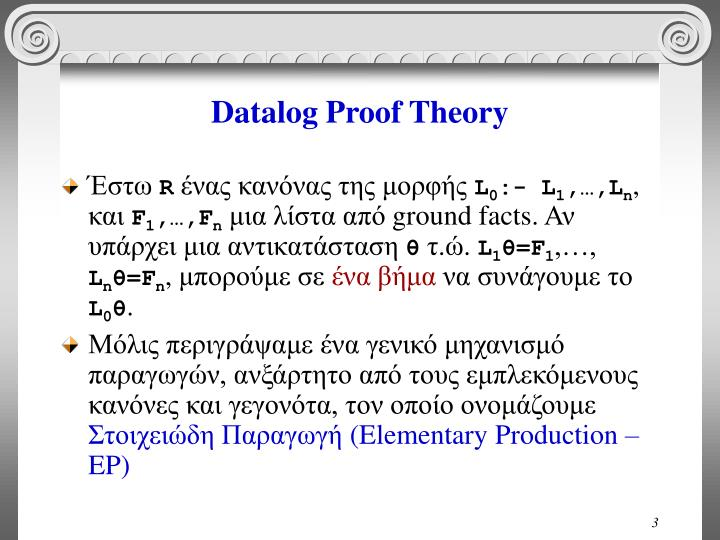 Datalog proof theory
