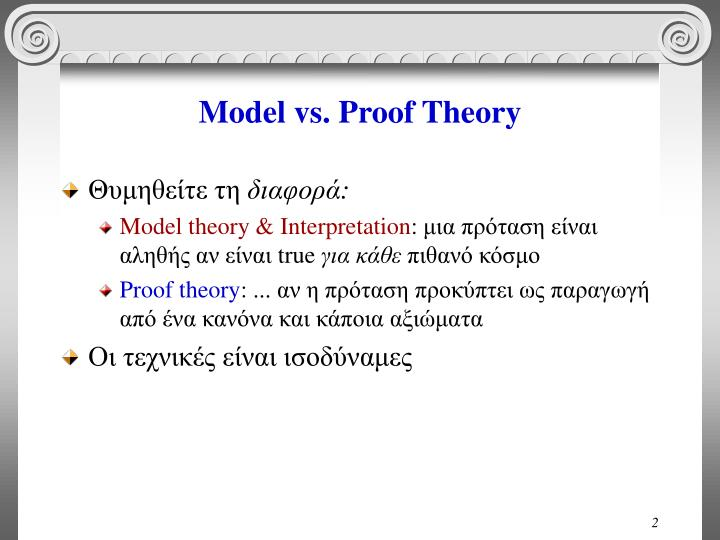 Model vs proof theory