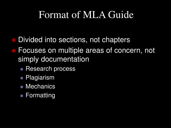 Format of mla guide