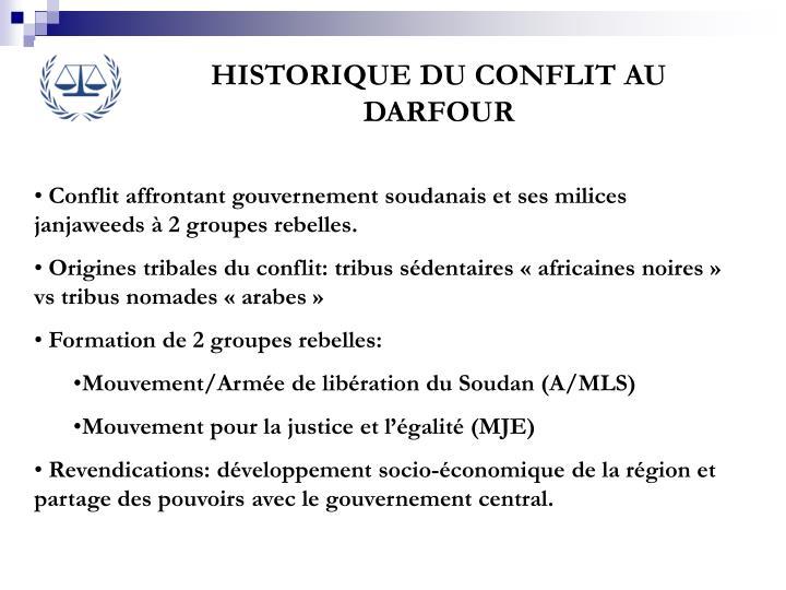 HISTORIQUE DU CONFLIT AU DARFOUR