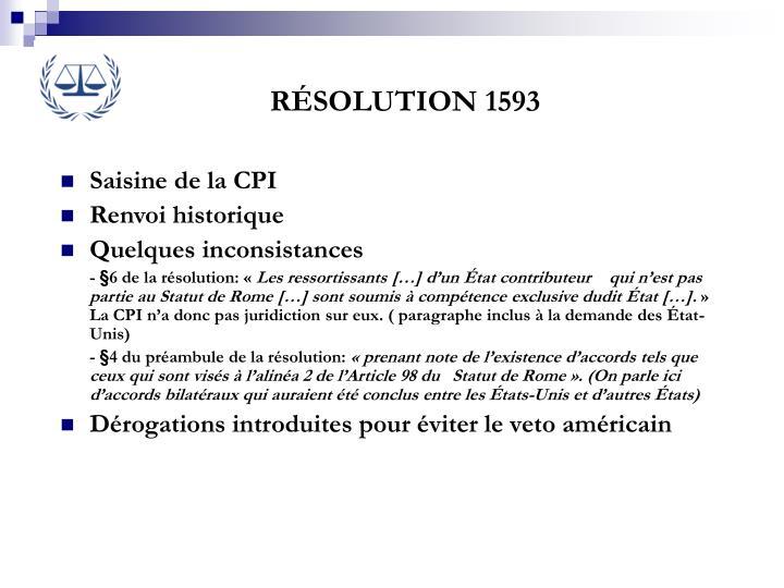 RÉSOLUTION 1593
