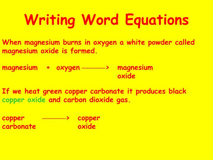 Writing Word Equations
