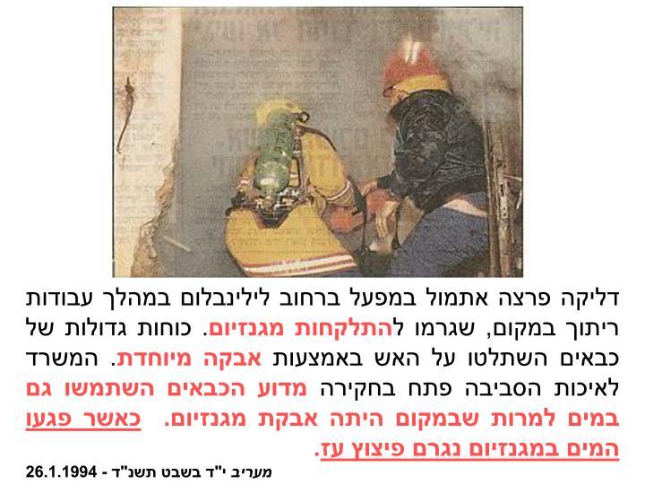 דליקה פרצה אתמול במפעל ברחוב לילינבלום במהלך עבודות ריתוך במקום, שגרמו ל