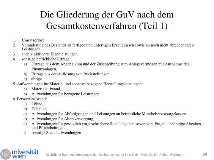 Die Gliederung der GuV nach dem Gesamtkostenverfahren (Teil 1)