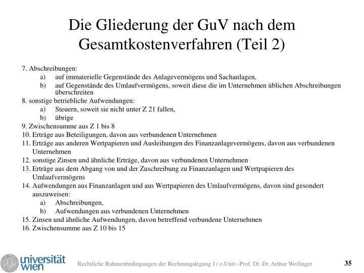Die Gliederung der GuV nach dem Gesamtkostenverfahren (Teil 2)