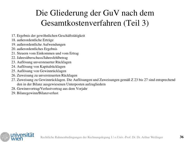 Die Gliederung der GuV nach dem Gesamtkostenverfahren (Teil 3)