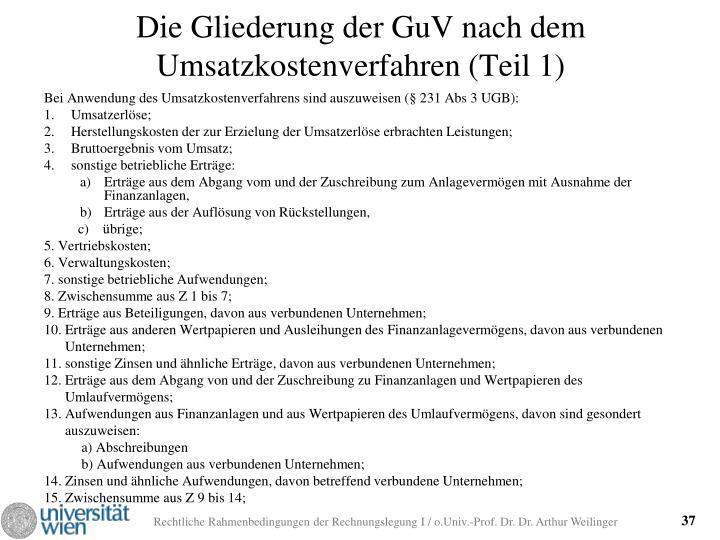 Die Gliederung der GuV nach dem Umsatzkostenverfahren (Teil 1)