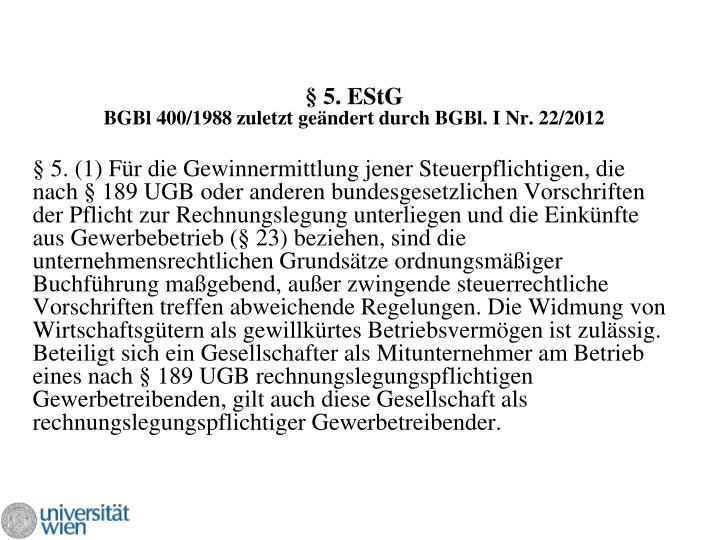 § 5. EStG