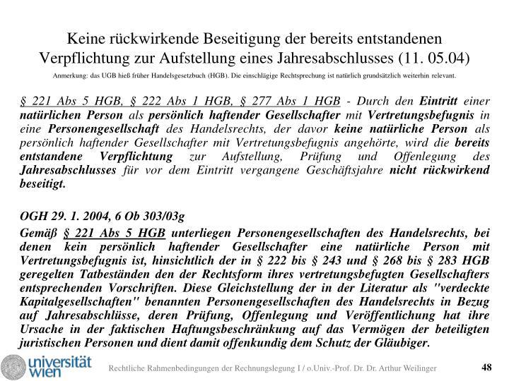 Keine rückwirkende Beseitigung der bereits entstandenen Verpflichtung zur Aufstellung eines Jahresabschlusses (11. 05.04)