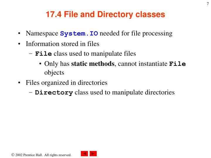 17.4 File and Directory classes
