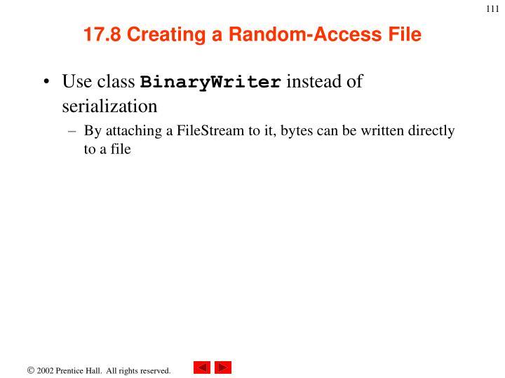 17.8 Creating a Random-Access File