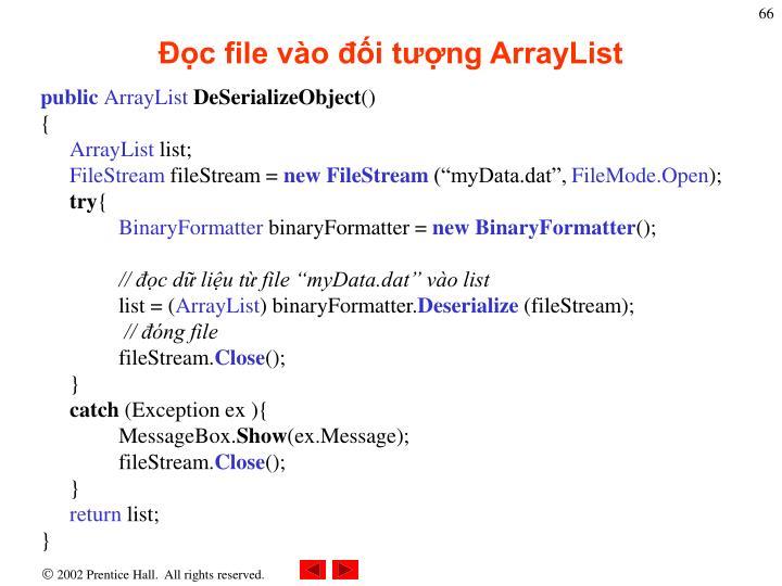 Đọc file vào đối tượng ArrayList