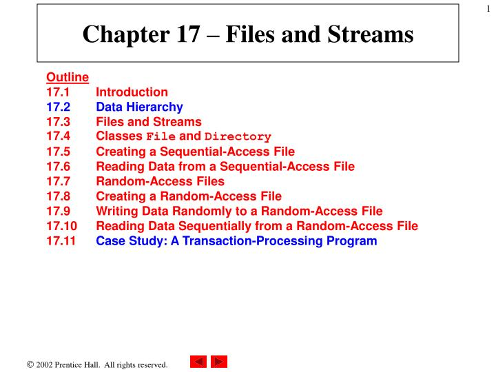 Chapter 17 files and streams
