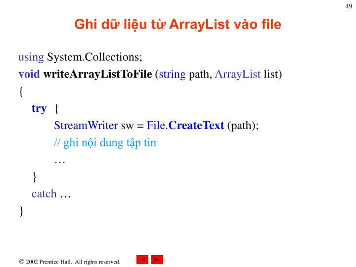 Ghi dữ liệu từ ArrayList vào file