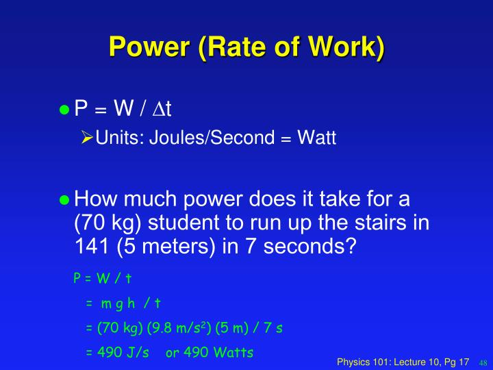 Power (Rate of Work)