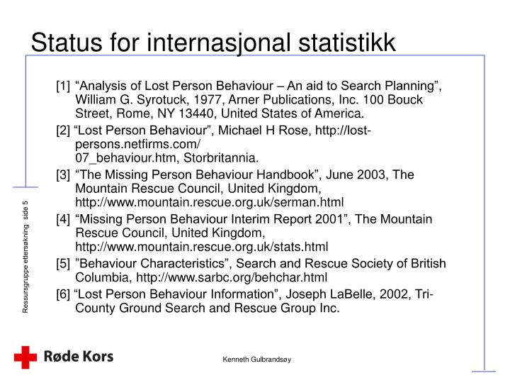 Status for internasjonal statistikk