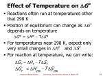 effect of temperature on g