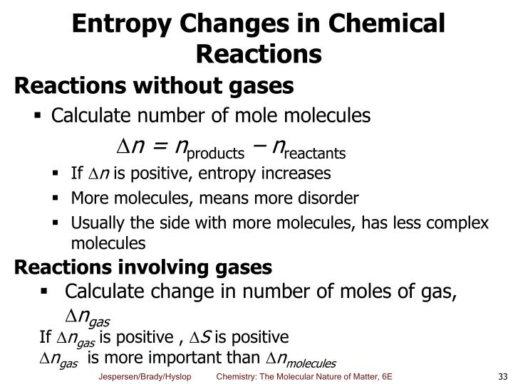 Entropy Changes in Chemical Reactions