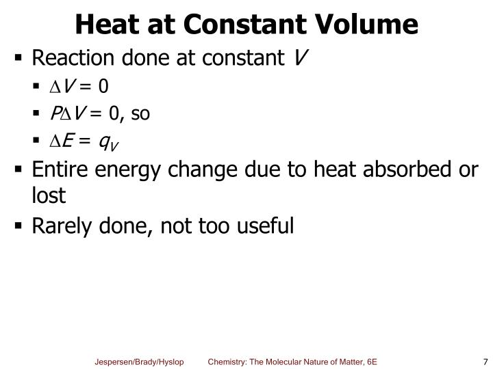 Heat at Constant Volume