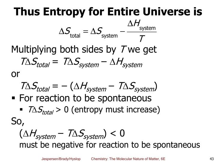 Thus Entropy for Entire Universe is