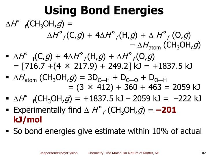 Using Bond Energies