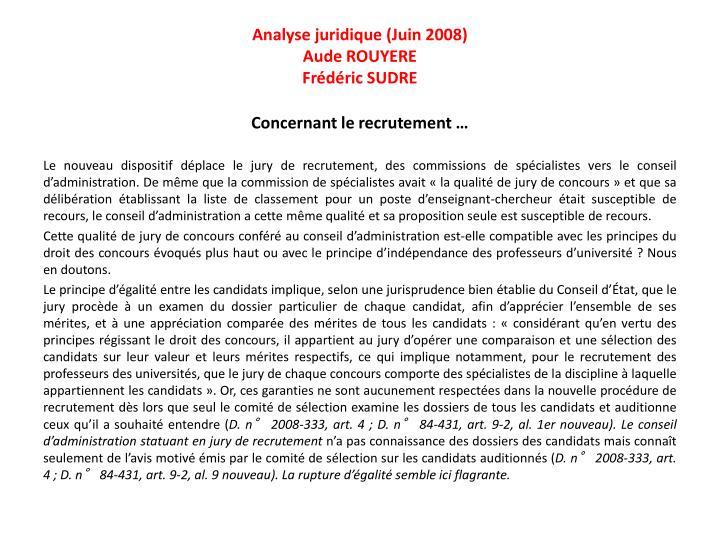 Analyse juridique (Juin 2008)