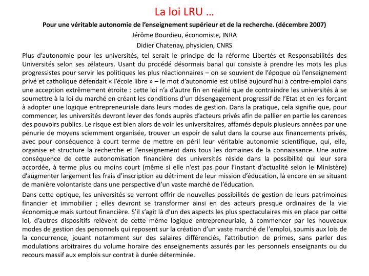 La loi LRU …