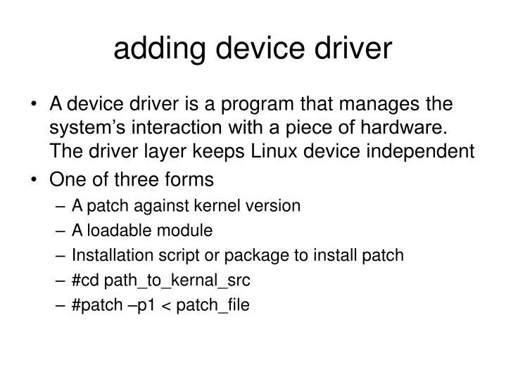 adding device driver