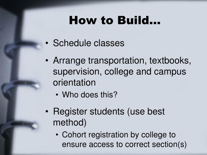 How to Build…
