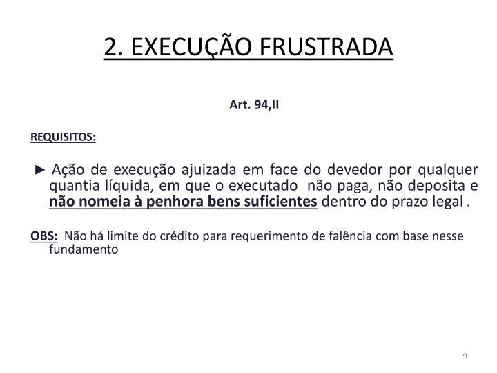 2. EXECUÇÃO FRUSTRADA