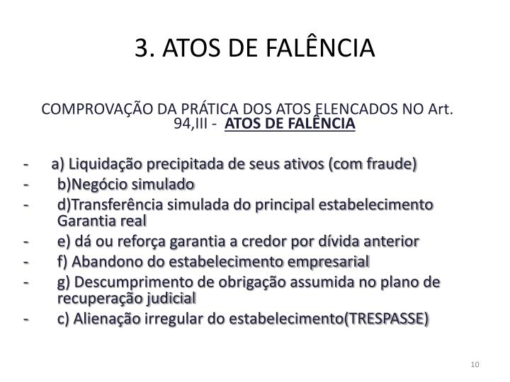 3. ATOS DE FALÊNCIA