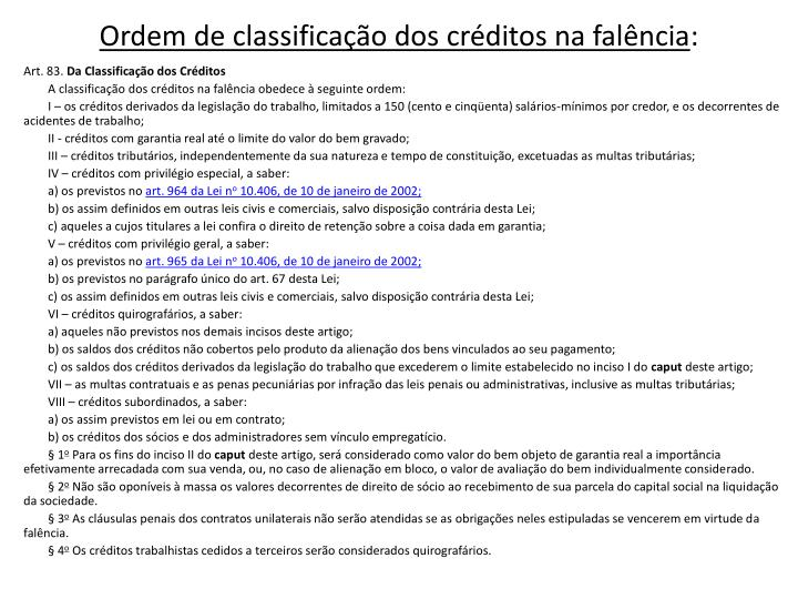 Ordem de classificação dos créditos na falência
